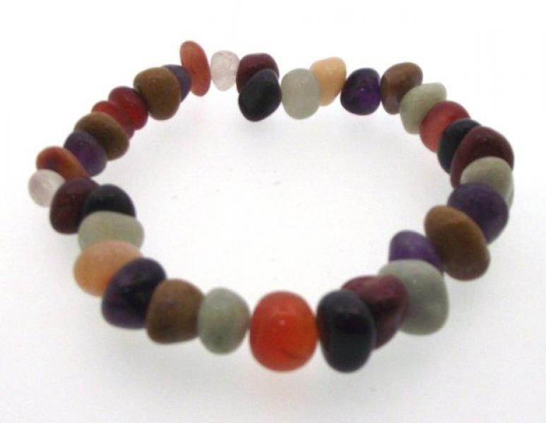 Multi-Coloured Gemstone Tumbled Bracelet
